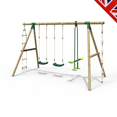 Rebo Saturn 4 In 1 Wooden Garden Swing Set - Double Swing, Glider, Rope & Ladder • 254.95£
