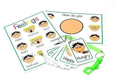 Feelings And Emotion Flash Cards Boy Girl Mood Expression Pack Autism Non Verbal • 12.99£