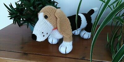 Basset Hound Puppy Dog Hand Knitted Soft Toy • 20£