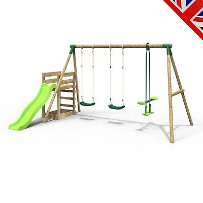 Rebo Wooden Swing Set Plus Deck & Slide - Neptune Green • 334.95£