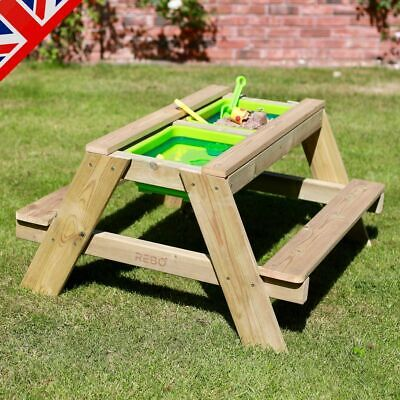 Rebo Wooden Sandpit With Lid Sand & Water Picnic Table Play Bench – 2 Sizes • 76.46£