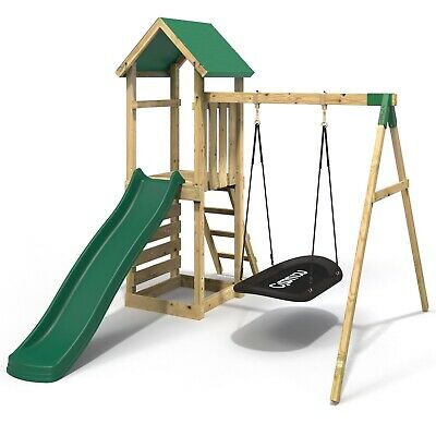 Rebo Adventure Playset Wooden Climbing Frame, Swing Set And Slide - Elbrus • 419.95£