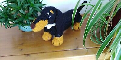 Beautful & Cuddly Hand Knitted Dachshund Puppy Dog Soft Toy • 20£