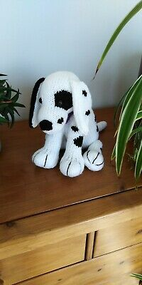 Adorable Dalmatian Puppy Dog Hand Knitted Cuddly Soft Toy • 20£