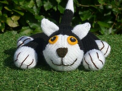 Black & White Alley Cat Kitten Hand Knitted Soft Toy • 18.50£