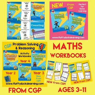 CGP Books Ages 3-11 Maths Times Tables Telling The Time Activity Workbooks • 3.50£