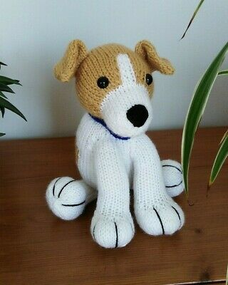 Jack Russell Puppy Dog Hand Knitted Soft Toy • 20£