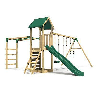 Rebo Adventure Playset Wooden Climbing Frame With Monkey Bar, Swings & Slide • 624.95£