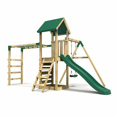 Rebo Adventure Playset Wooden Climbing Frame With Monkey Bar, Swings & Slide • 499.95£