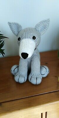 Greyhound Puppy Dog Hand Knitted Cuddly Soft Toy • 20£