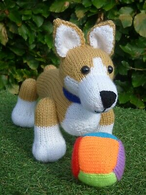 Corgi Puppy Dog Hand Knitted Soft Toy • 20£