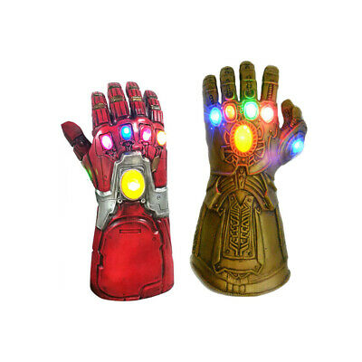 Adult Kids Iron Man Thanos Gauntlet Infinity War Gloves  With LED • 15.19£