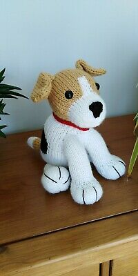 Black, Tan & White Jack Russell Puppy Dog Hand Knitted Soft Toy • 20£