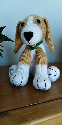 Beagle Puppy Dog Hand Knitted Cuddly Soft Toy • 20£