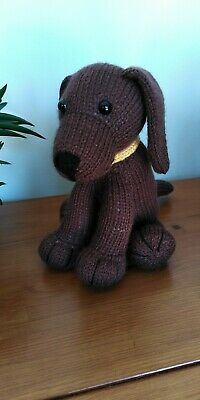 Chocolate Brown Labrador Puppy Dog Hand Knitted Cuddly Soft Toy • 20£