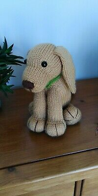 Golden Yellow Labrador Puppy Dog Hand Knitted Cuddly Soft Toy • 20£
