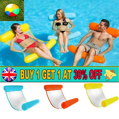 Inflatable Floating Water Hammock Float Pool Lounge Bed Swimming Chair AR UK • 9.95£