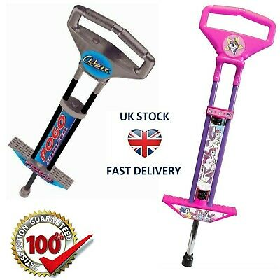 Pogo Stick Spring Powered Outdoor Jump Game Toy For Kids Boys Girls Pink  Black • 27.99£