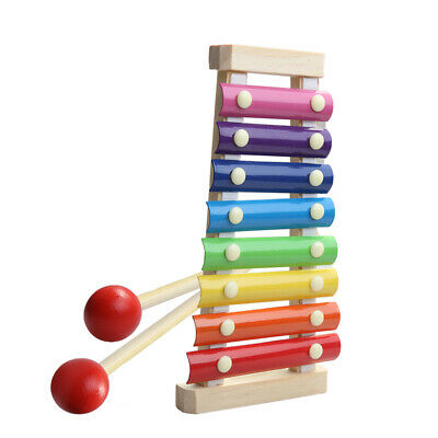 Multi Color Wooden 8-Notes Xylophone Piano Musical Instrument Toys • 7.19£