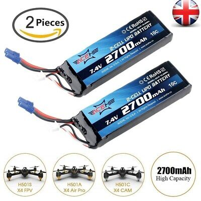 2Pcs 7.4V 2700mAh LiPo Battery 10C EC2 Connector For Hubsan H501S X4 H501C Drone • 29.59£