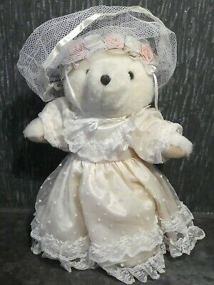 Hand Made White Teddy Bear In A Lace Wedding Dress • 20£