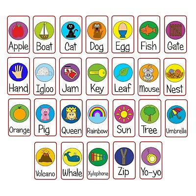 Alphabet Flash Cards A-Z Picture First Words Preschool Early Learning EYFS • 3.79£