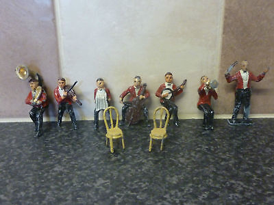 PRE-WAR CHARBENS LEAD PART SET OF 7x JACK's BAND TOY FIGURES & 2x CHAIRS • 269.95£