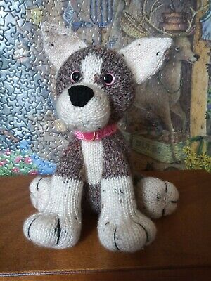 Hand Knitted Soft Toy Puppy Dog With Pink Collar • 12£
