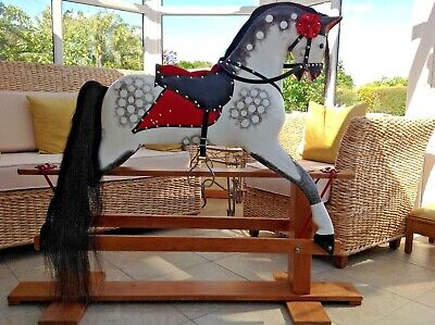 Traditional Vintage LARGE Collinson & Sons Wooden Rocking Horse 48  Tall • 699£