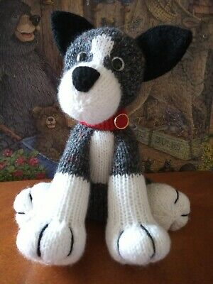 Hand Knitted Soft Toy Puppy Dog With Red Collar • 13£