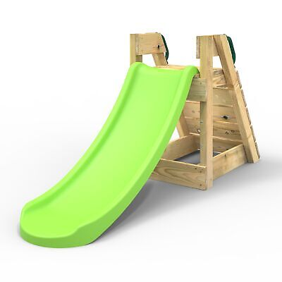 Rebo 4FT Toddler Adventure Slide With Wooden Platform And Climbing Wall - Purple • 129.95£