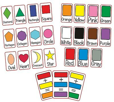 Shapes Colours Flash Cards Kids Toddlers Preschool Early Learning Resource EYFS • 3.79£