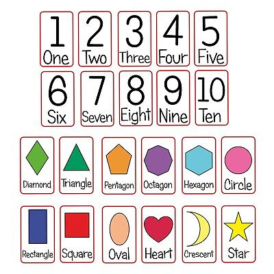 Numbers And Shapes Flash Cards Kids Toddlers Preschool Early Learning Resource  • 3.79£