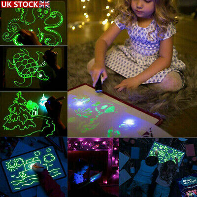 Draw With Light Drawing Board Developing Toy Kid Education Magic Painting A3/4 • 8.85£