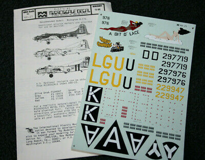 Microscale Boeing B-17 1:48 Model Kit Decals Sheet No.21. • 10£