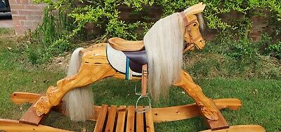 Handmade Wooden Rocking Horse. Bespoke, Traditional. Real Hair And Leather. • 324.99£