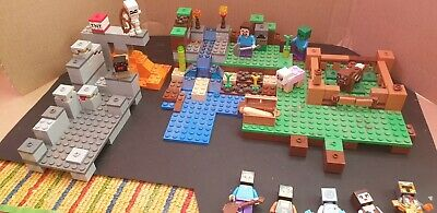 Minecraft Lego FARM And CAVE Bundle With Figures • 9.99£
