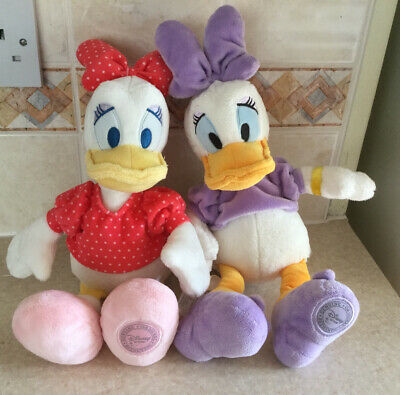 Disney Store Authentic Stamped Pair Of Daisy Duck Plush Toys VGC • 10£