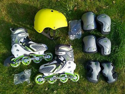 Vivess In-Line Rollerblades Skates UK 5/6 EU 38/39 With Helmet, Elbow & Kneepads • 62.99£
