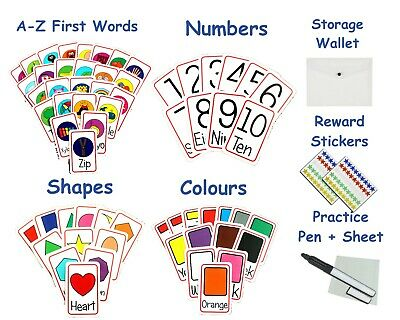 Children's Flash Cards Shapes Numbers Colours First Words A Z Early Learning • 8.99£