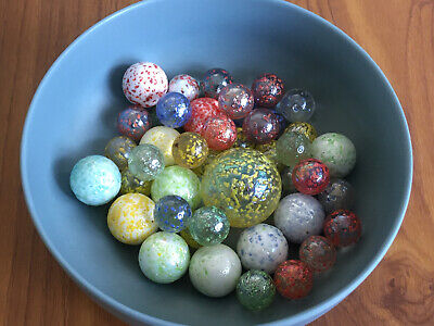 Job Lot 43x Vintage Speckled Marbles Mixed Sizes • 15£