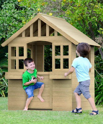 Kids Wooden Playhouse Outdoor Wendy House Play Den • 209.99£