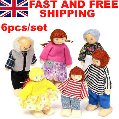 Family Dolls Playset Wooden Figures Set 7 People For Children House Pretend Gift • 8.59£