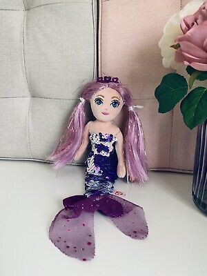 Ty The Sea Sequins Limited Collection Mermaid Doll Lorelei 10  Purple Hair Plush • 10.50£