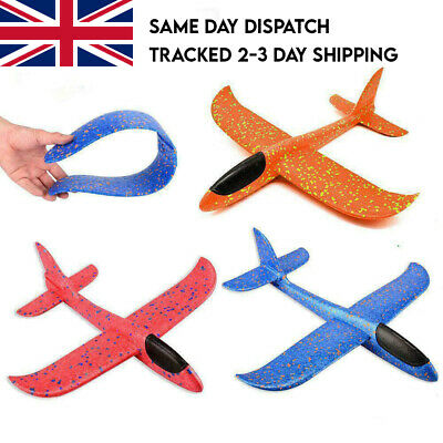Large 47cm Hand Throw Foam Plane Aeroplanes Toy Glider Model Kids Toys 2 Modes • 4.99£