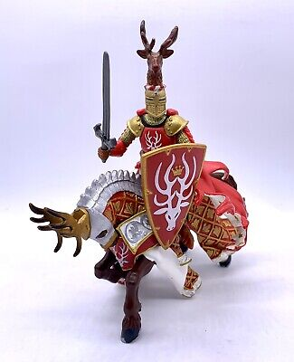 Papo Mounted Red Stag Head Knight Medieval Figure And Horse • 10.97£