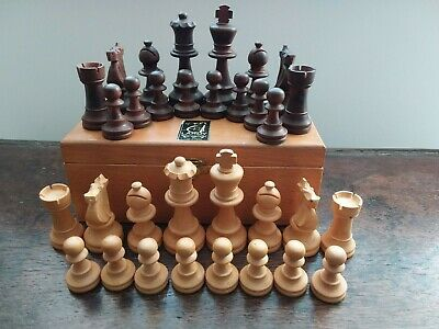 Lardy Wooden Chess Set. Vintage 1974. Chess Olympics Nice. • 75£