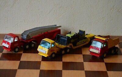 Tonka Trucks, 3No, Fire Engine, Tipper, Low Loader With Bulldozer • 15£
