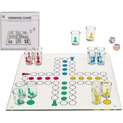 Ludo Drinking Game 16 Glasses 2 Dices Different Colour Adult Alcohol Party Game • 11.95£