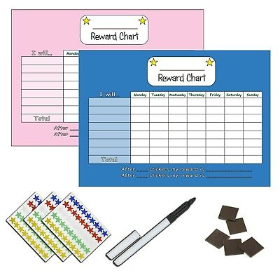 Children's Re-usable Blue Pink Reward Chart And Reward Star Stickers MAGNETIC • 5.49£